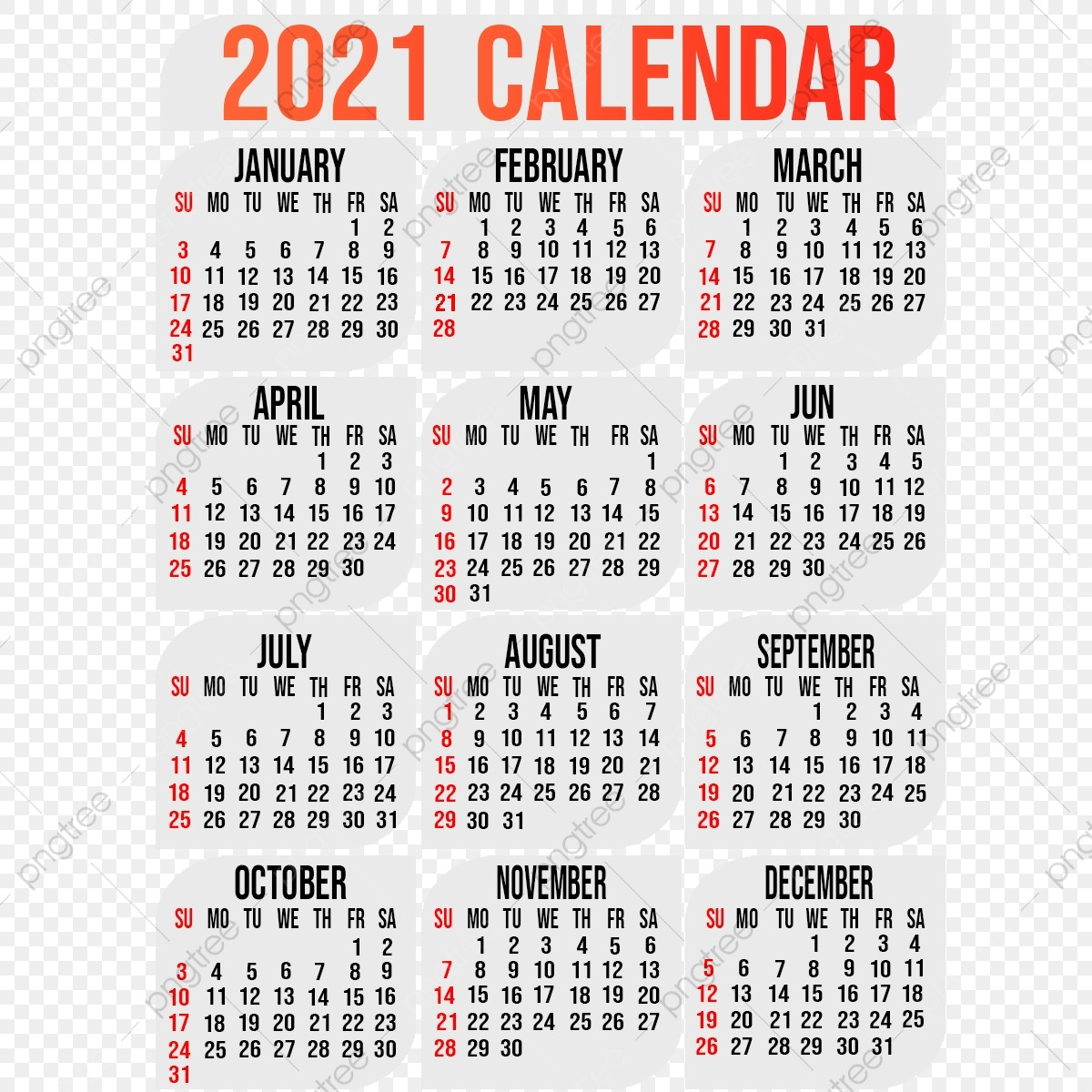 2021 calendar template with background design