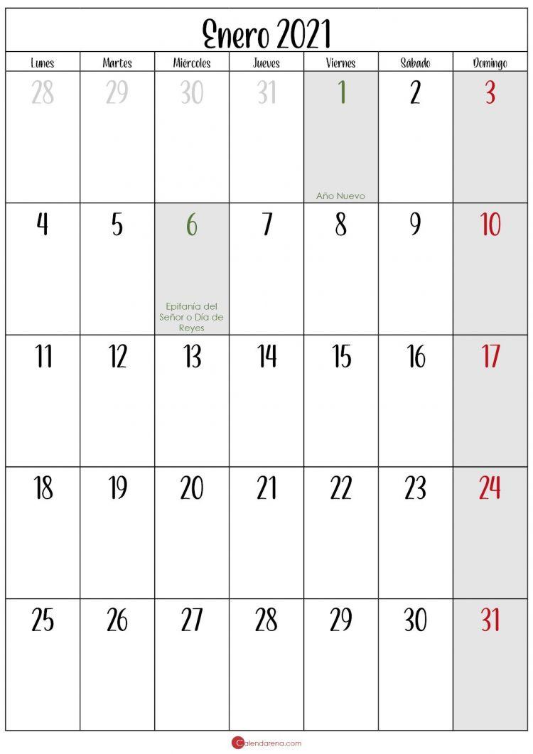 Calendario 2021 Enero Más Arriba-a-fecha Enero Calendario 2021 Calendarena