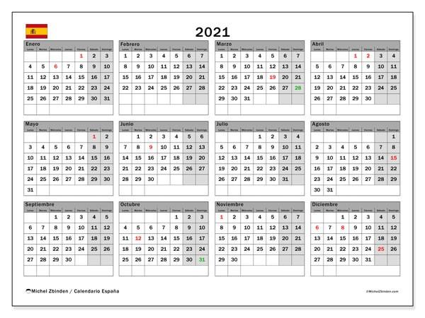 Calendario 2021 España Actual Calendario 2021 España Michel Zbinden Es