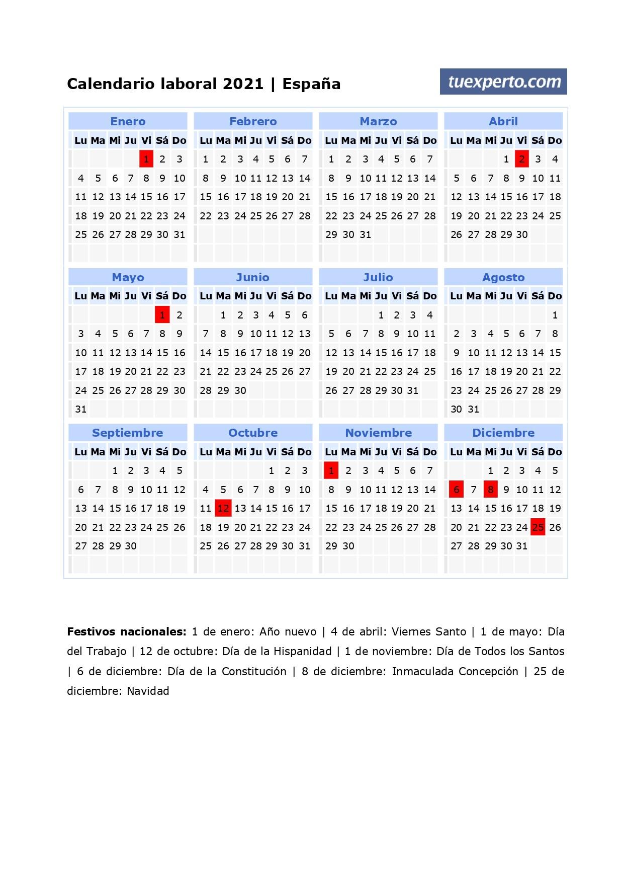 calendario laboral 2021 calendarios con festivos por unidad para imprimir