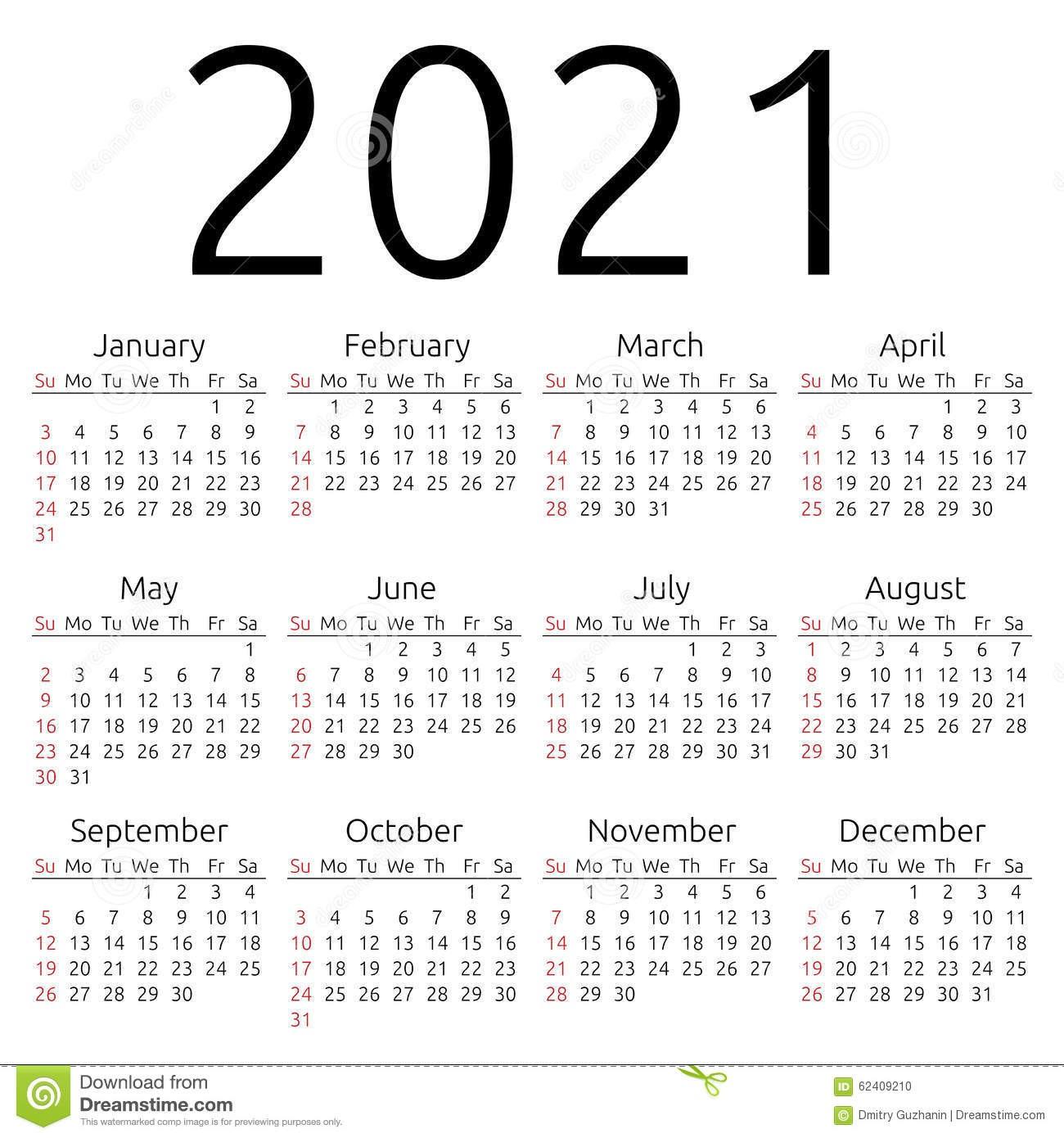 stock illustration vector calendar sunday simple year week starts eps image