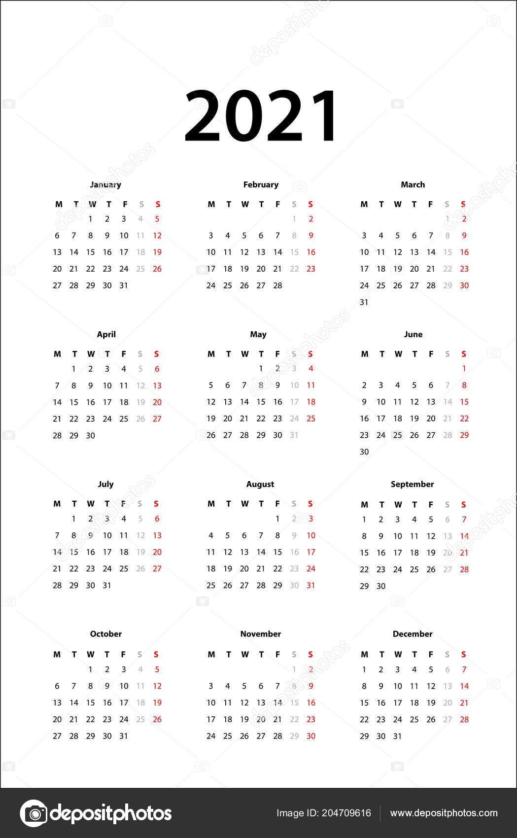 stock illustration calendar 2021 simple calendar template
