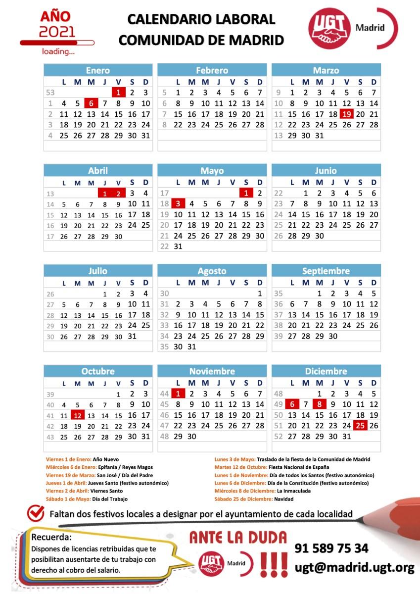 calendario laboral de la unidad de madrid para el ano 2021