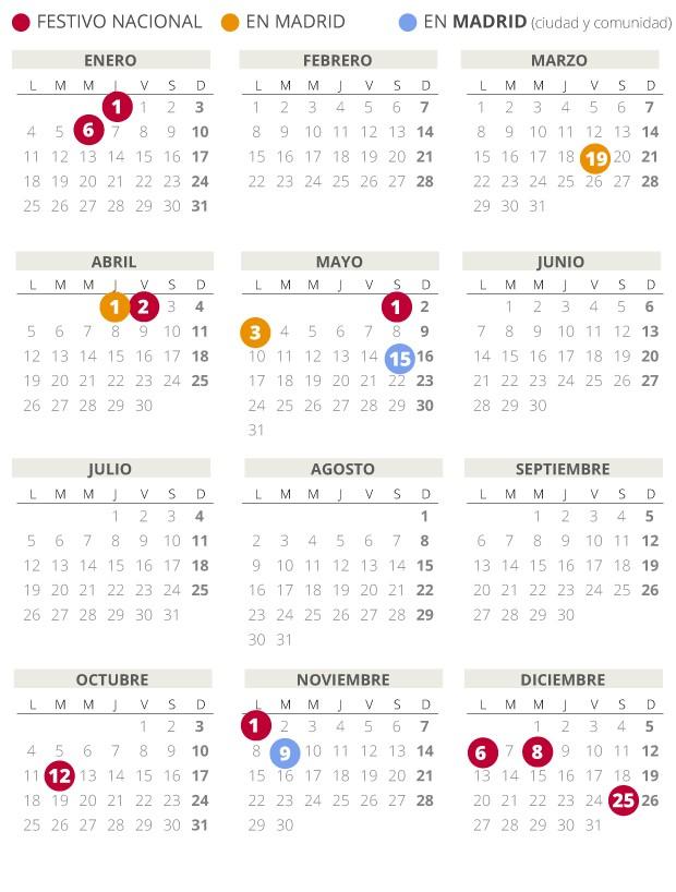 calendario laboral madrid 2021 fiestas festivos