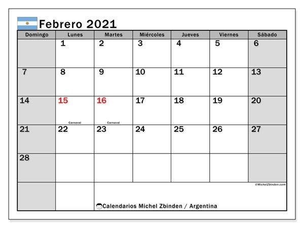 febrero 2021 calendario