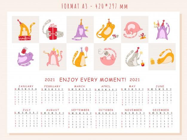 calendario de festa de aniversario de gatos 2021 gatinho engracado no chapeu festivo bolo de aniversario e bebidas planejador de grande vetor paginas de 12 meses e capa