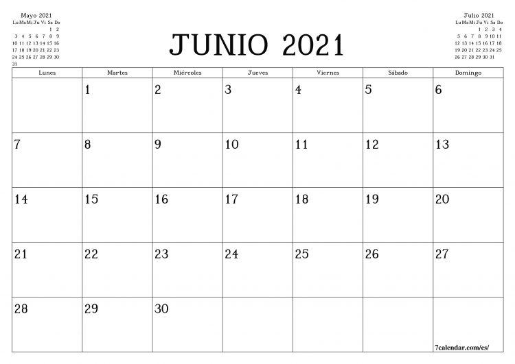 Calendario 2021 Junio Más Populares Calendario Y Planificador Mensual En Blanco Para Imprimir