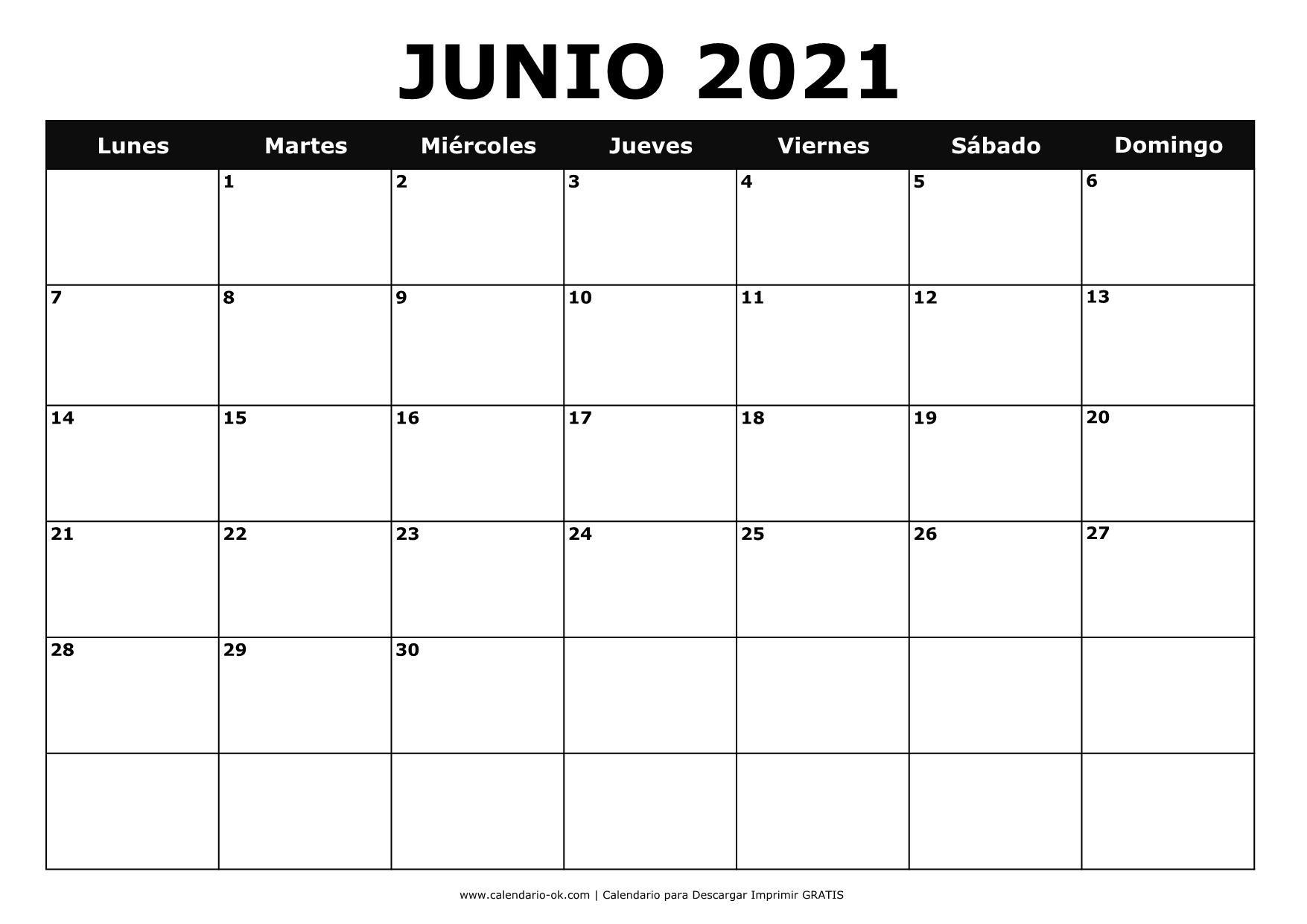 calendario junio 2021 para imprimir