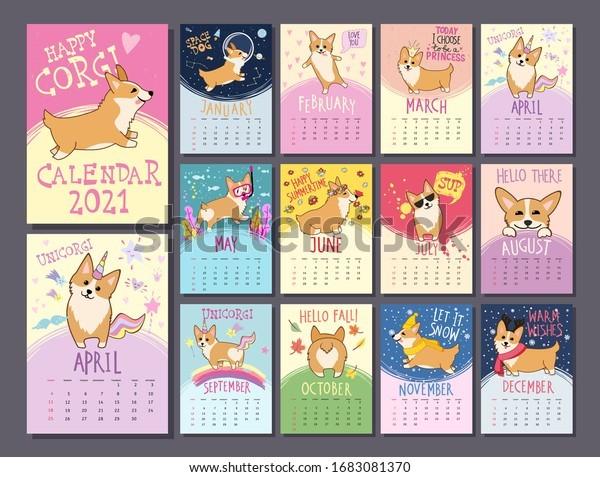 monthly calendar template 2021 cute welsh