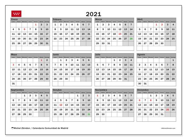 calendario 2021 unidad de madrid