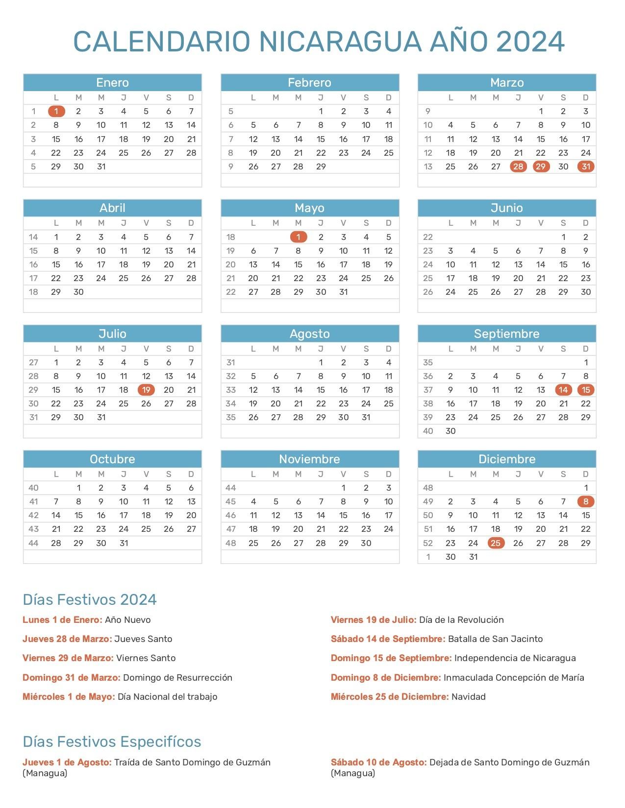 calendario nicaragua 2024