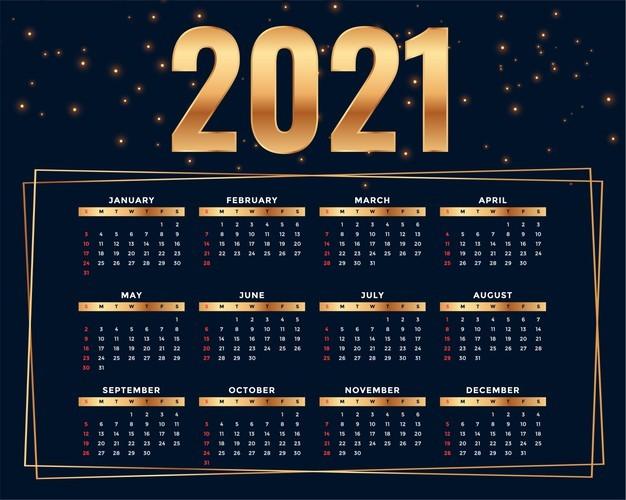 plantilla diseno calendario 2021 estilo dorado brillante