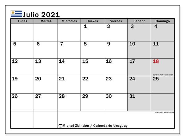 calendario julio 2021 uruguay