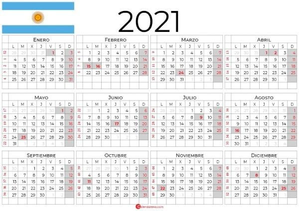 calendario argentina 2021 con dias festivos