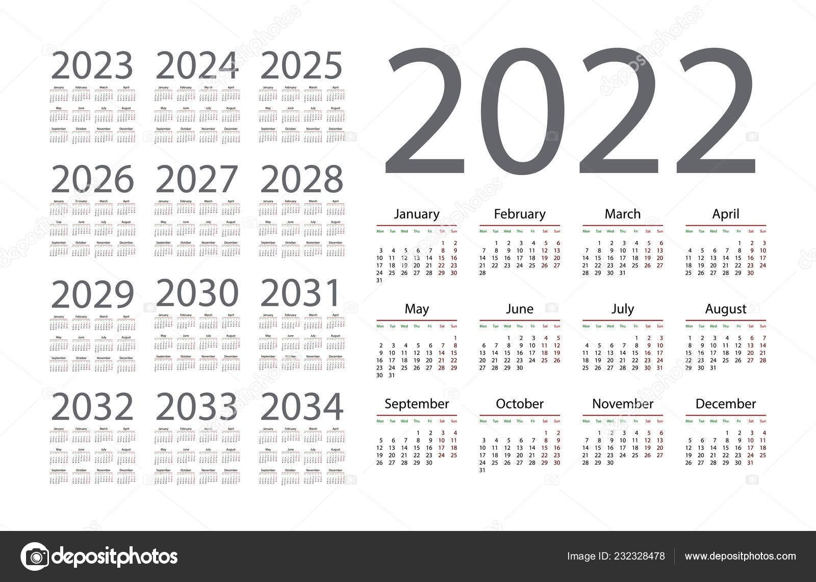 stock illustration simple calendar 2022 white background