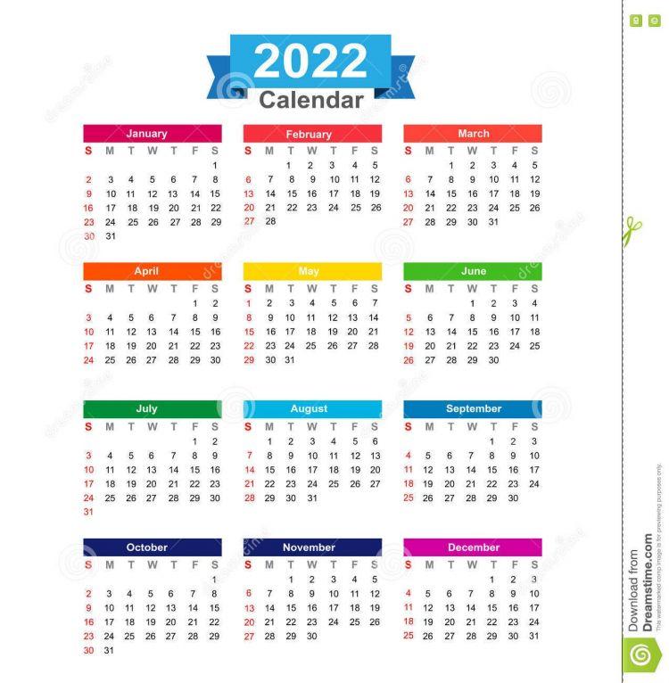 Calendario 2022 Más Caliente 2022 Year Calendar isolated White Background Vector