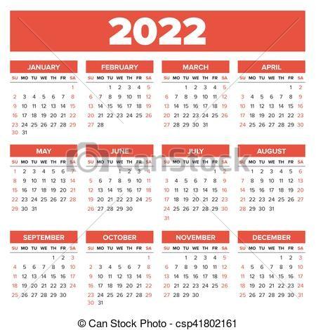 simples calendário 2022 ano