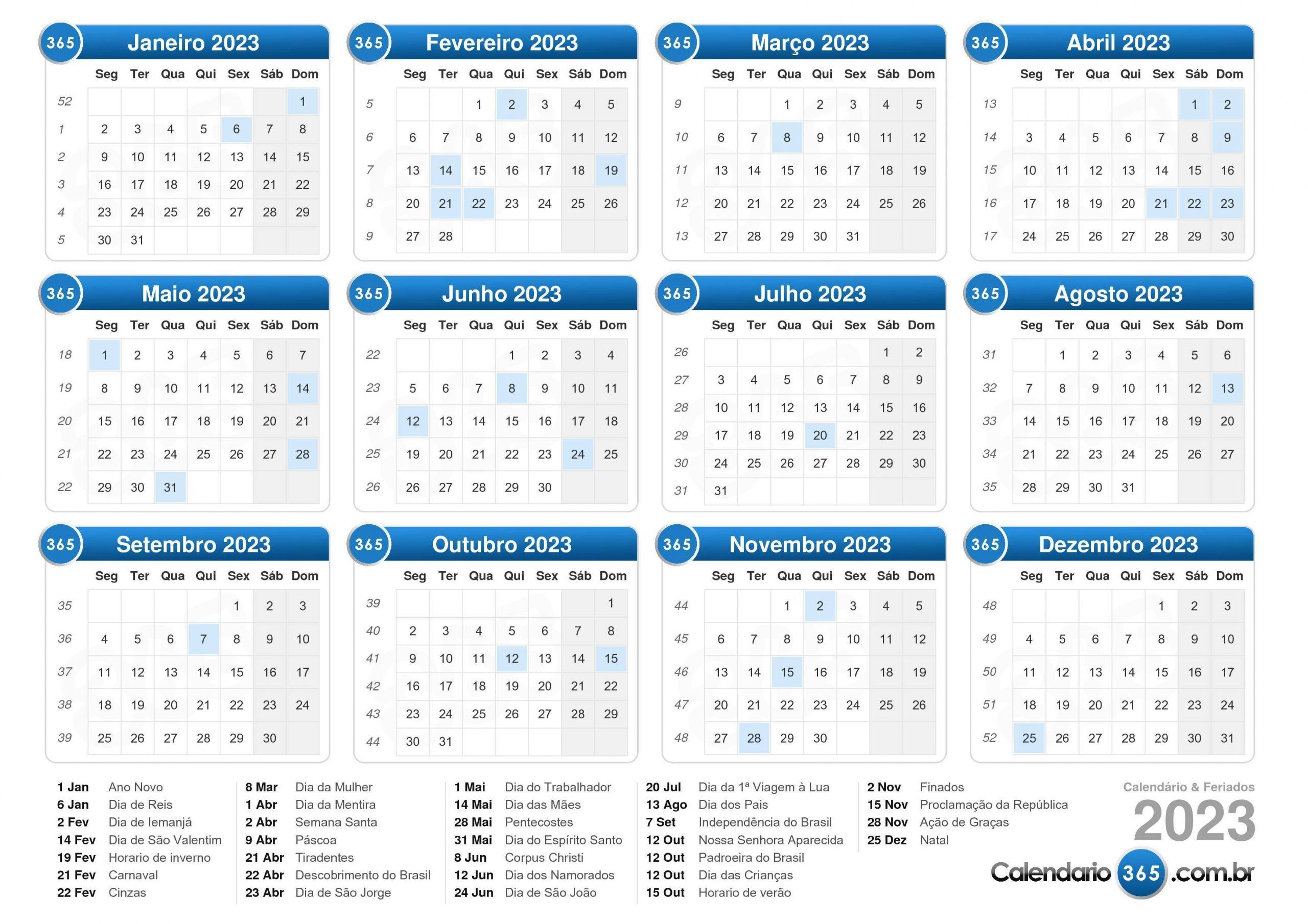 calendário 2023