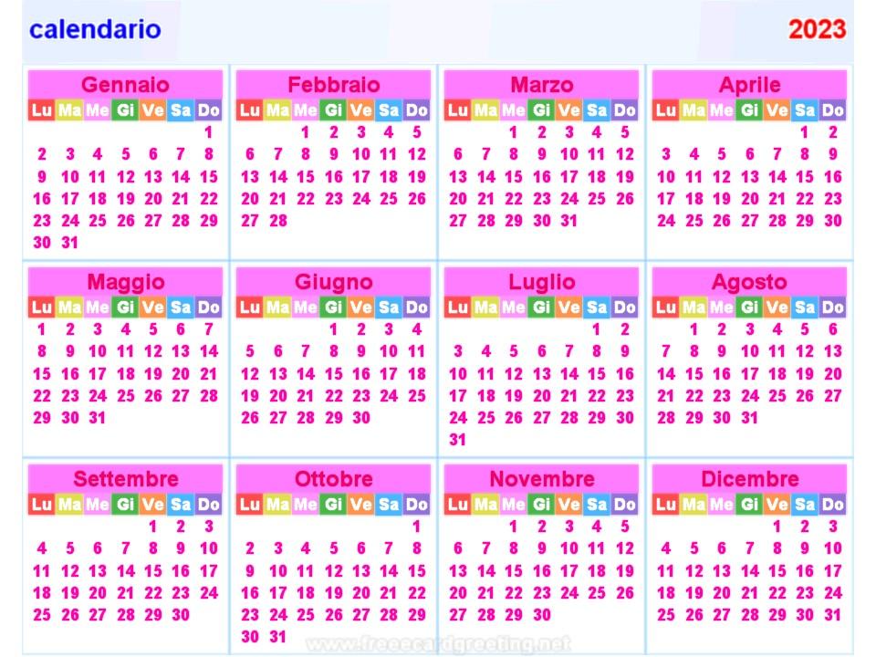 calendar 2023 italian all