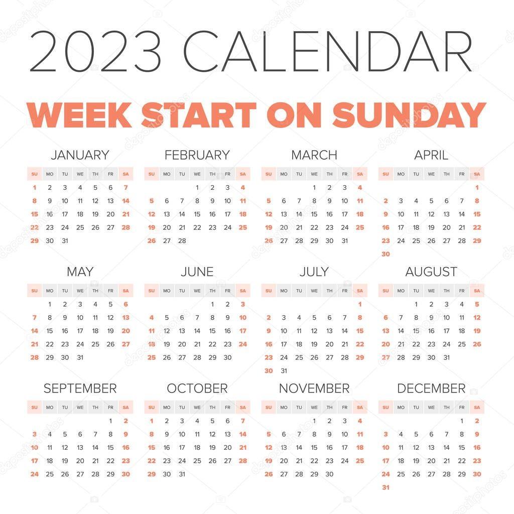 stock illustration simple 2023 year calendar