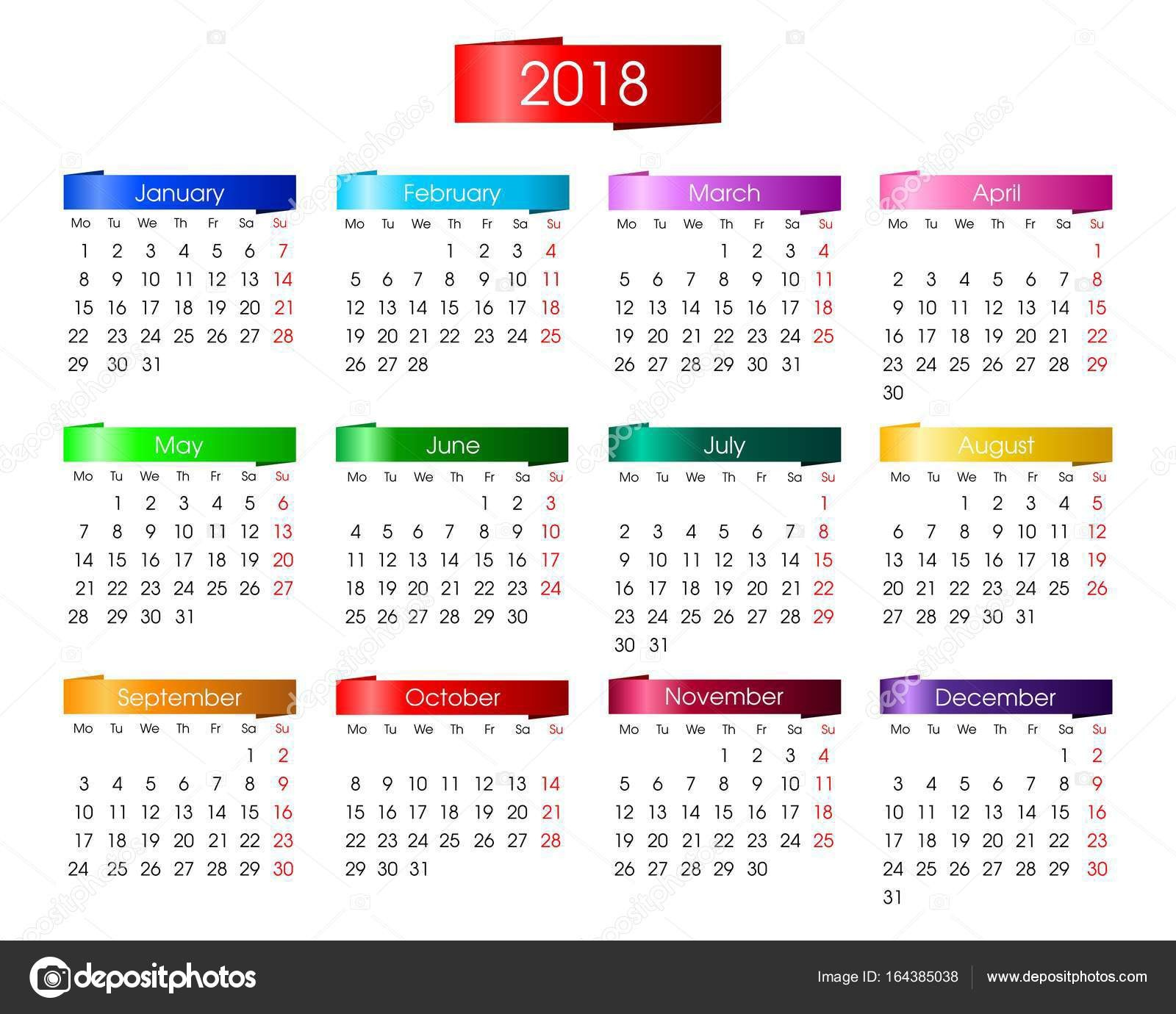 stock illustration annual calendar for 2018 with