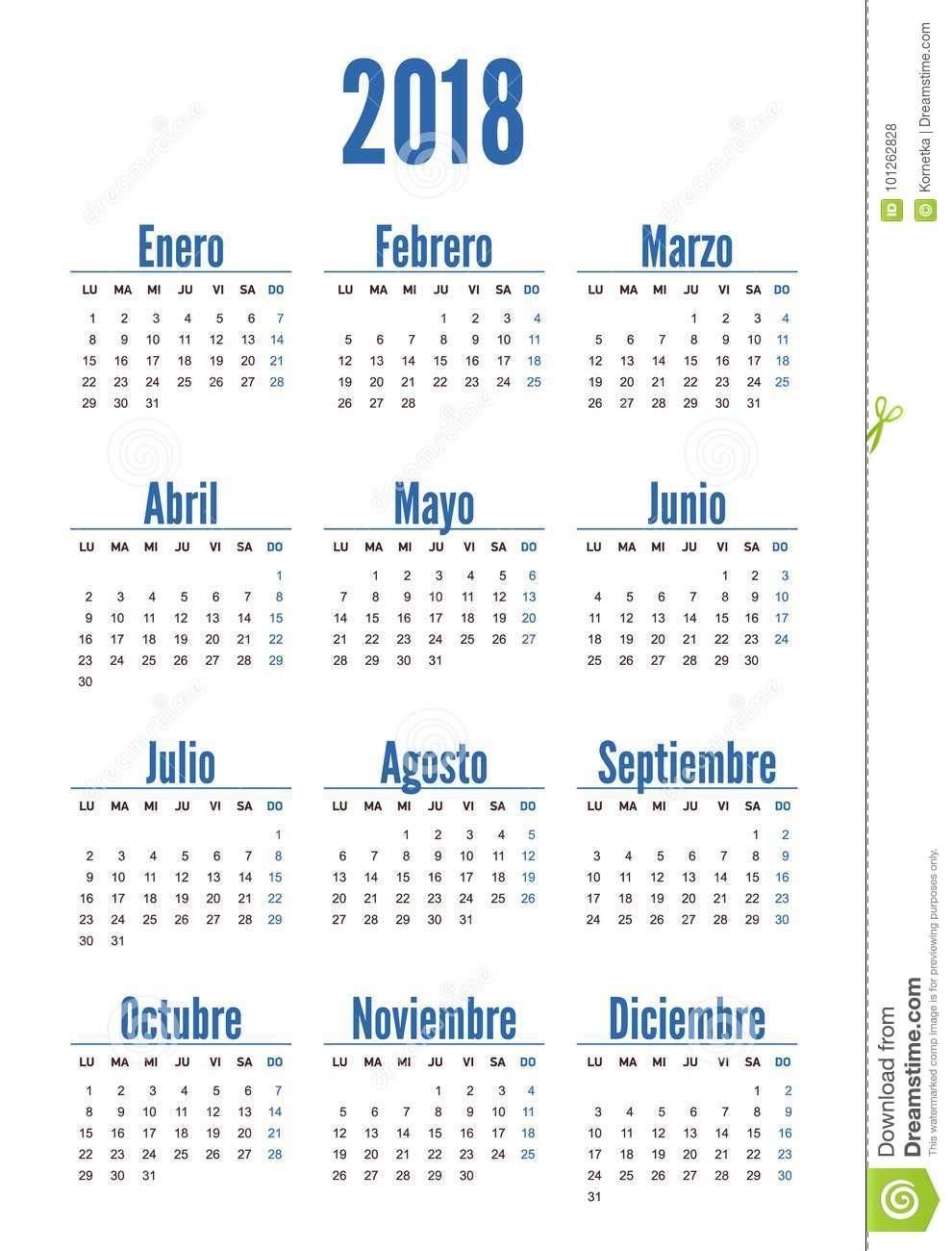 año vertical español del calendario image