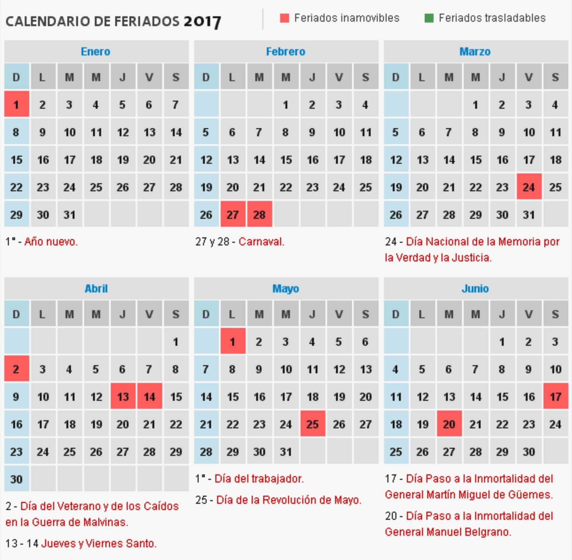 consulta el calendario de feriados 2017 de la argentina