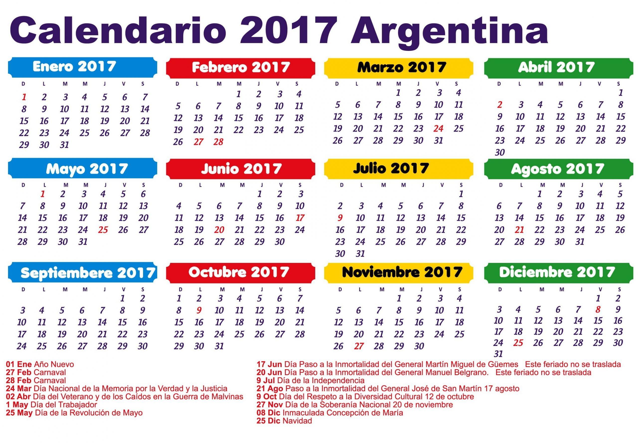 feriados 2017 argentina calendario 2017
