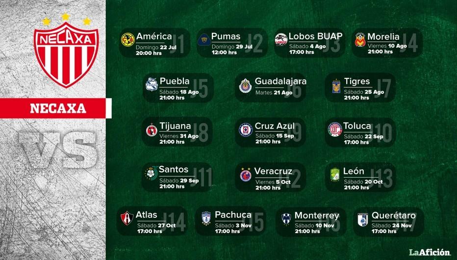 calendario por equipos de la liga mx
