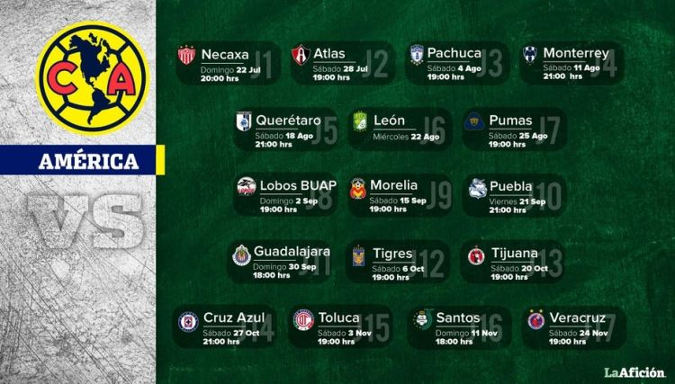 Calendario atlas 2018 Más Recientes Liga Mx Calendario Del Apertura 2018 Por Equipo