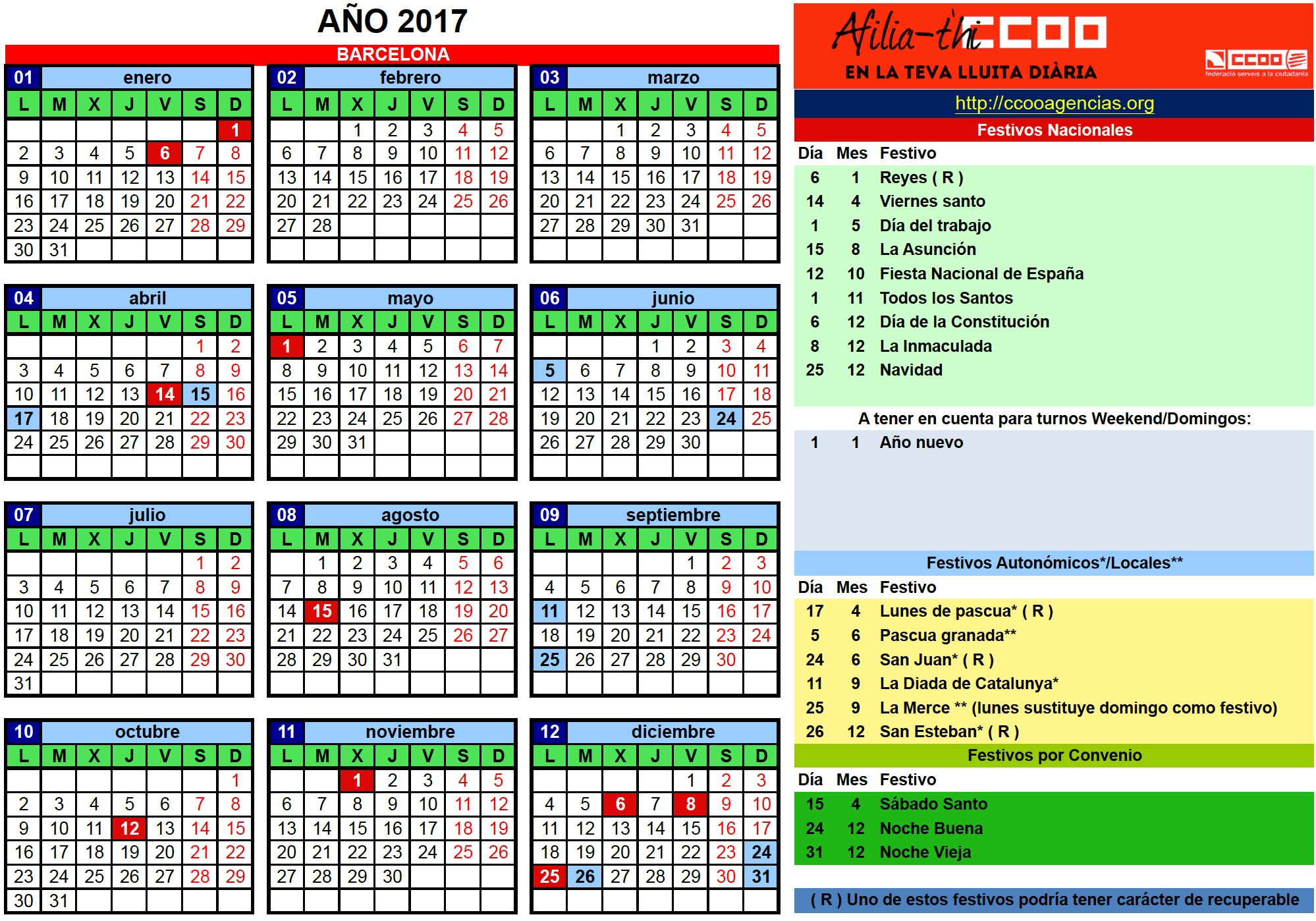 calendario laboral barcelona 2017 2