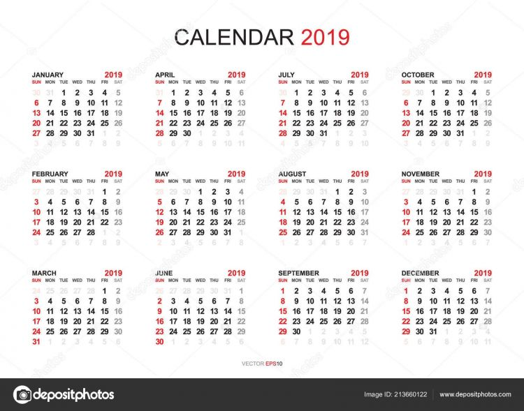 Calendario Civil Del 2019 Más Recientemente Liberado Estilo Simple Del Año Del Calendario 2019 Semana Ienza