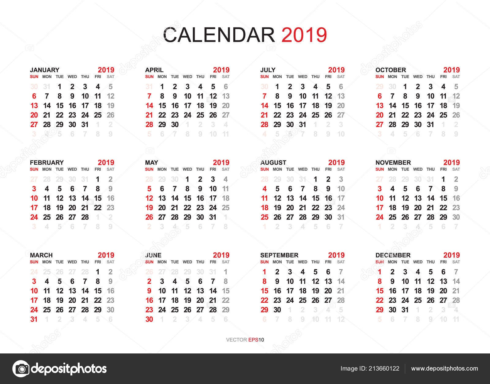 stock illustration calendar 2019 year simple style