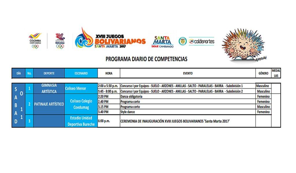 juegos bolivarianos colombianos sabado 11 noviembre santa marta