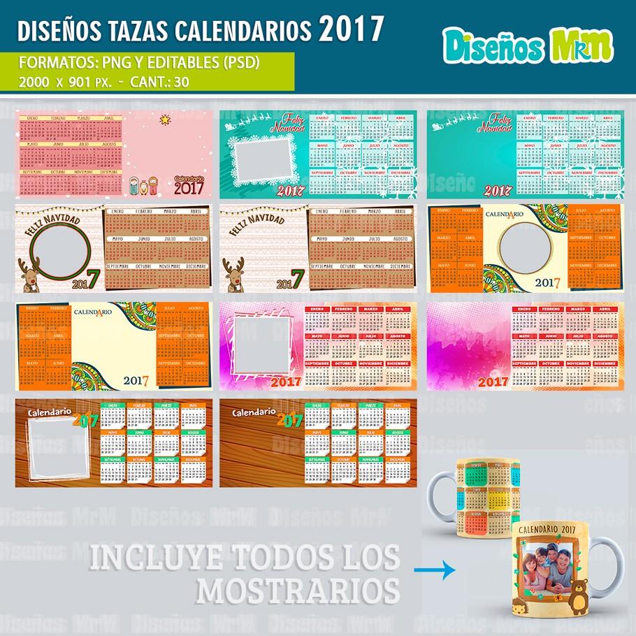 plantillas calendario 2017 para sublimar mugs