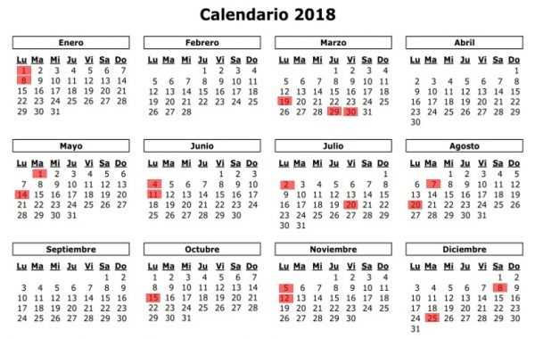 calendario festivos colombia 2018