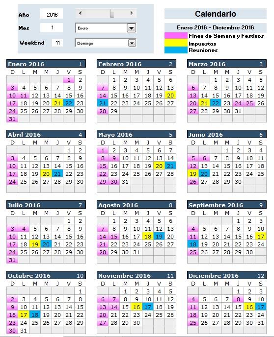 calendario con festivos y otras fechas importantes a partir de formato condicional