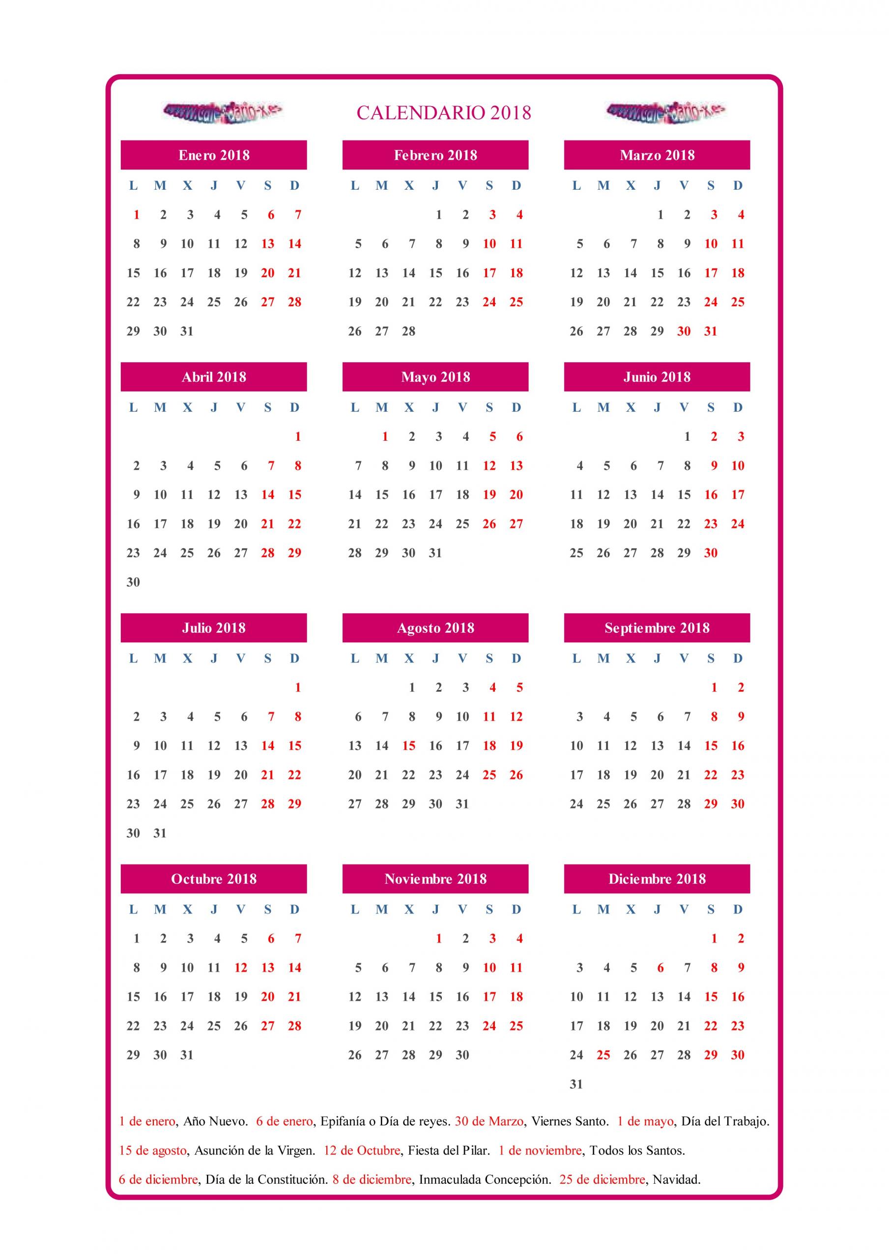 calendario 2019 con festivos