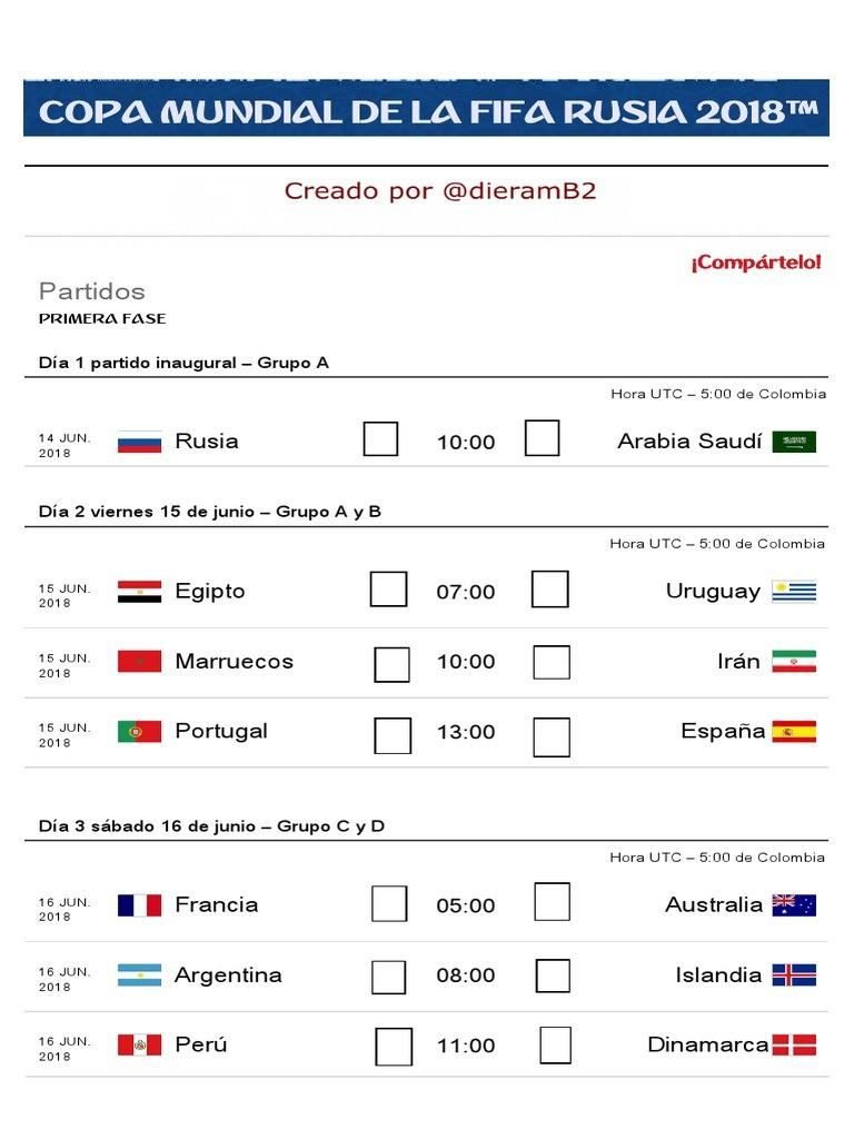 Calendario Copa Mundial de La FIFA Rusia 2018
