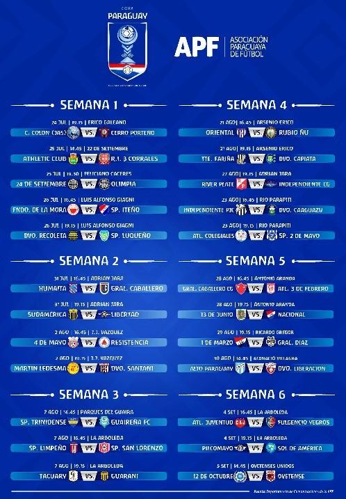 el calendario de la copa paraguay