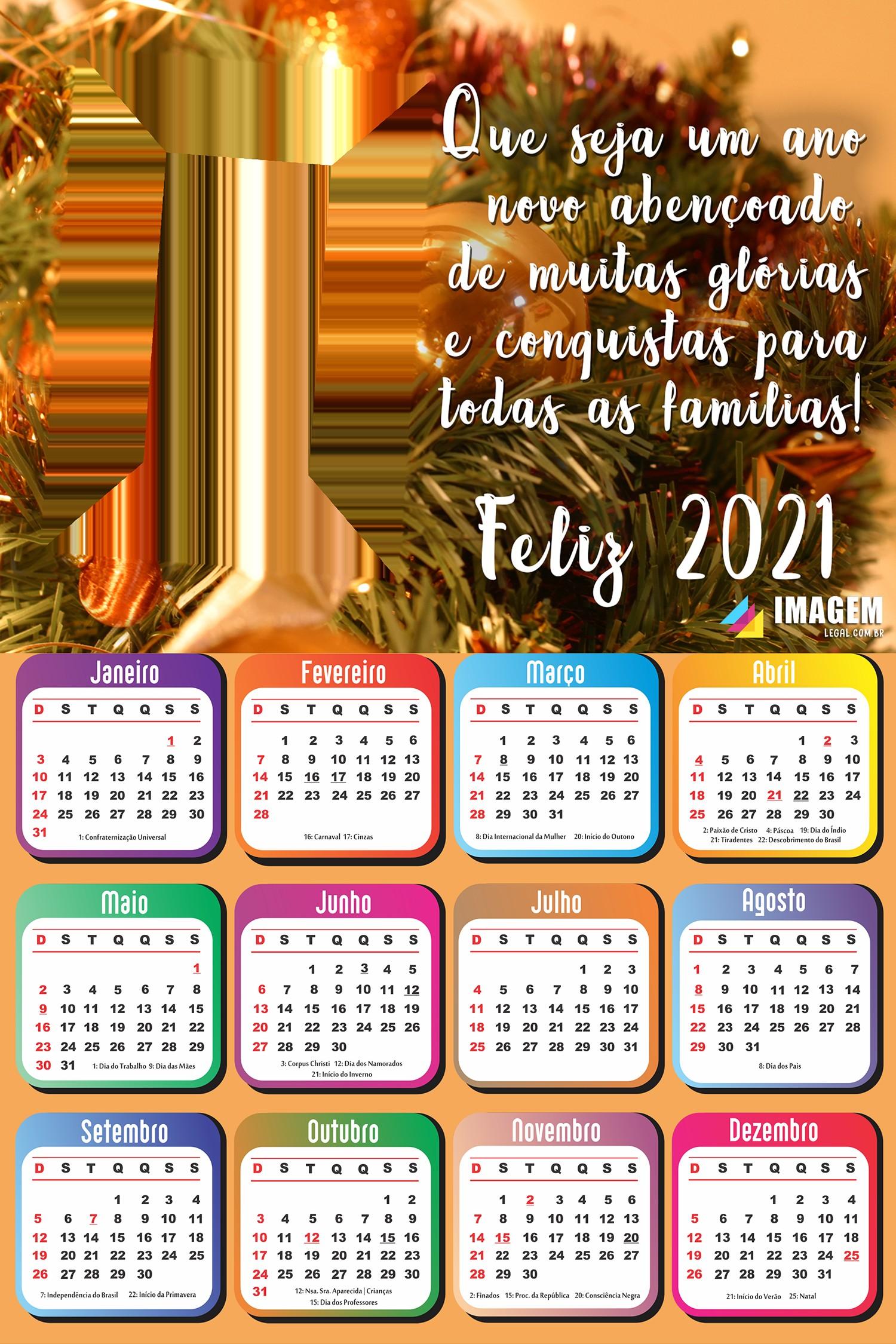 calendario 2021 um ano novo abencoado moldura png