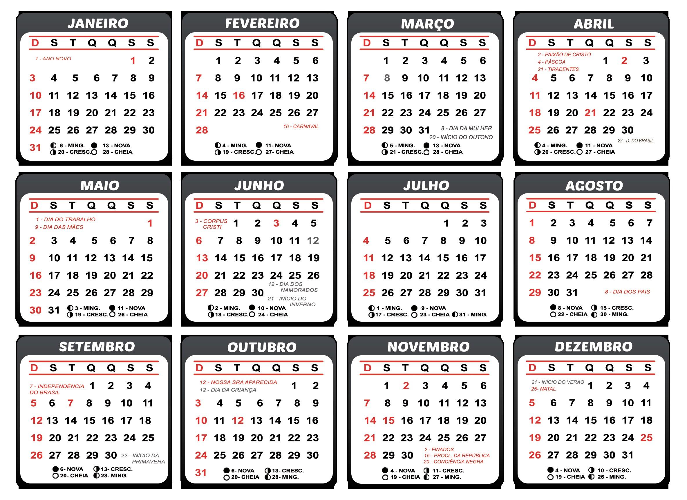 gabarito de calendario 2021 para impressao