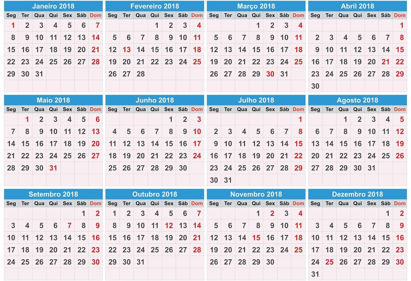 calendario de datas emorativas 2018