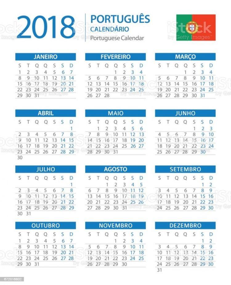 Calendario De Celebraciones 2018 Mejores Y Más Novedosos Ilustração De Calendário 2018 Vertical Azul Versão Em