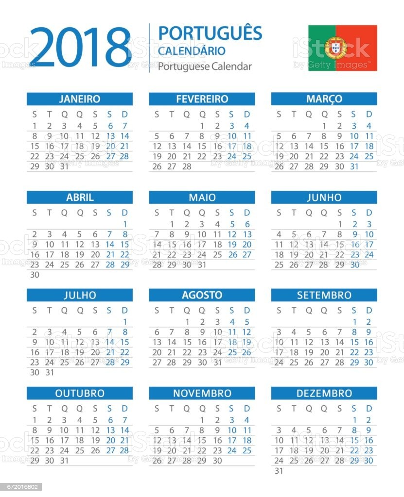 calendar 2018 vertical blue portuguese version gm
