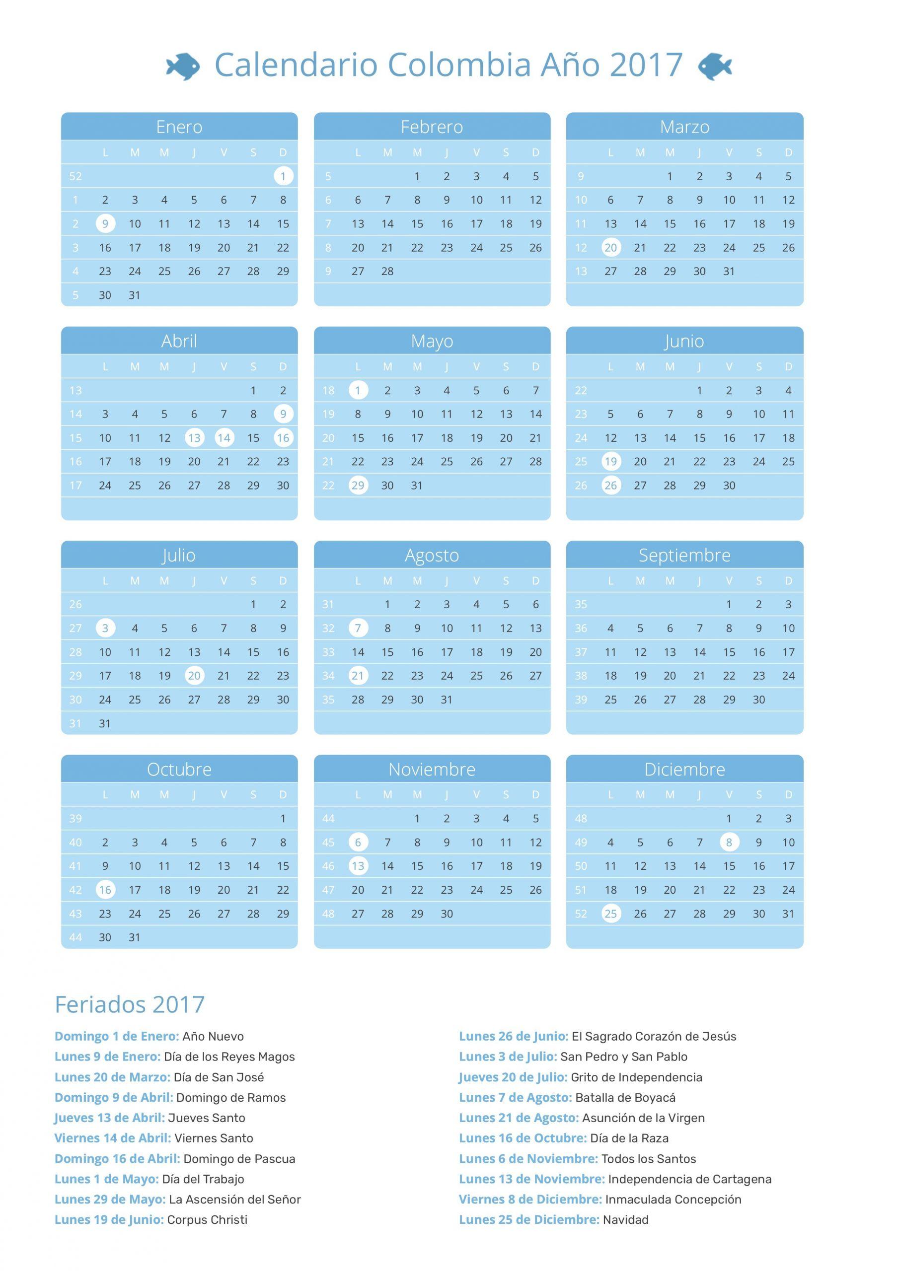 calendario colombia 2017