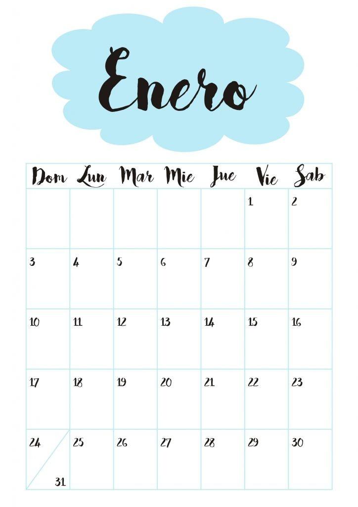 calendario mensual 2019 bonito para imprimir
