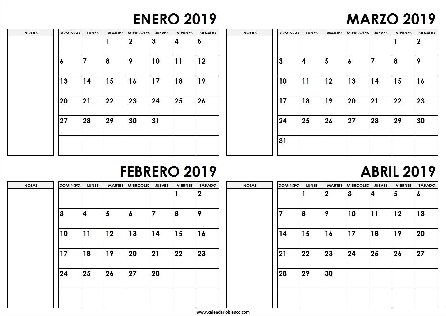 calendario enero febrero marzo abril 2019