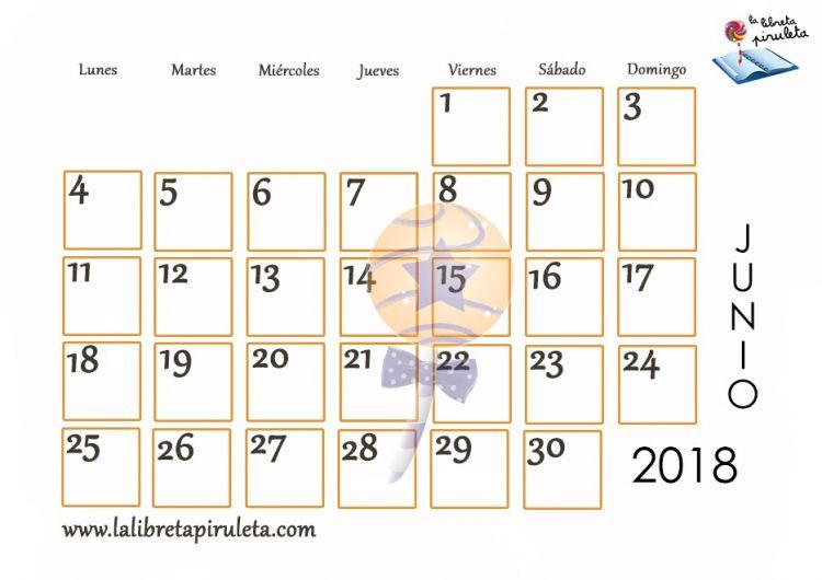 Calendario De Junio 2018 Para Imprimir Actual Nuestros Calendarios Para Descargar E Imprimir La