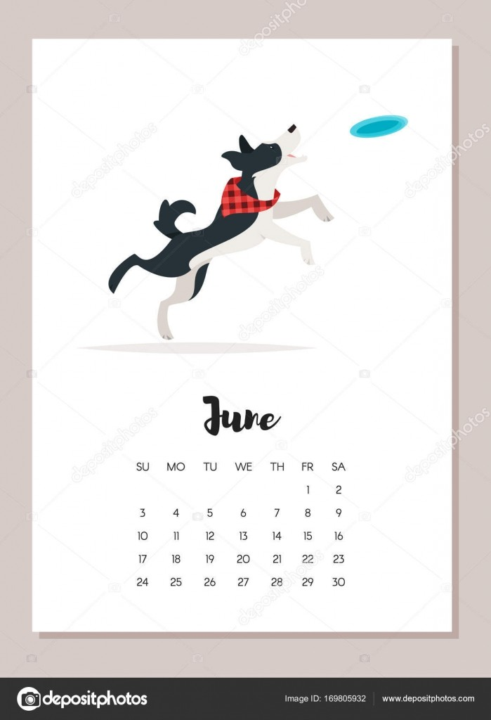 stock illustration june dog 2018 year calendar